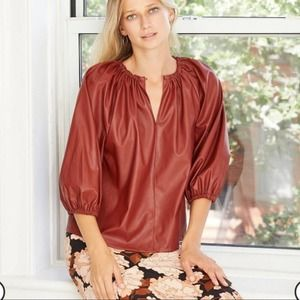 Who What Wear Faux Leather Blouse Peasant Rust XL